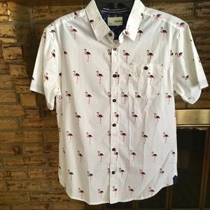 Men's button down flamingo print shirt